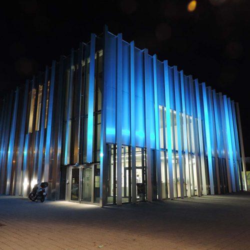 Mise en lumière architecturale de l'Odyssée de Valenciennes - Réalisation LEC - Candéliance