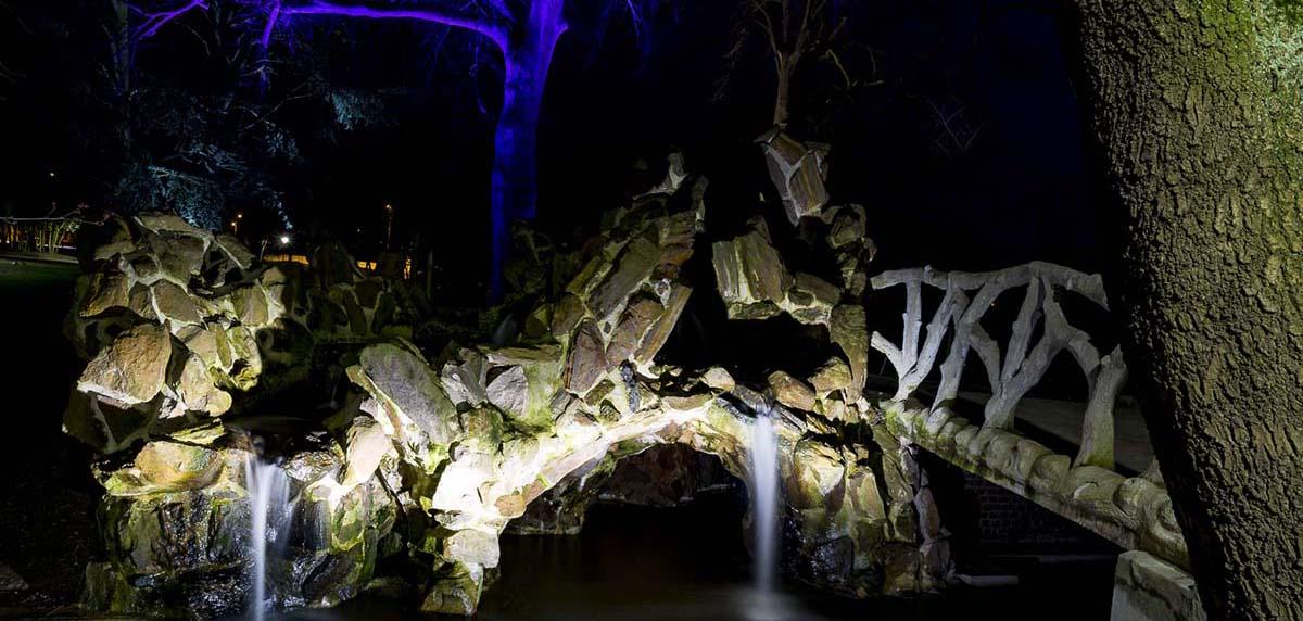 Mise en lumière par éclairage LED du parc public Elie Gruyelle à Henin Beaumont par LEC - Candéliance